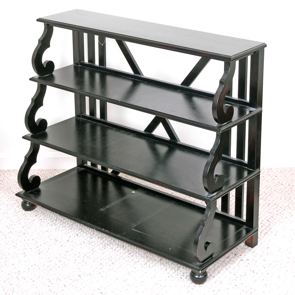 Graduated Shelf Black Wooden Bookcase