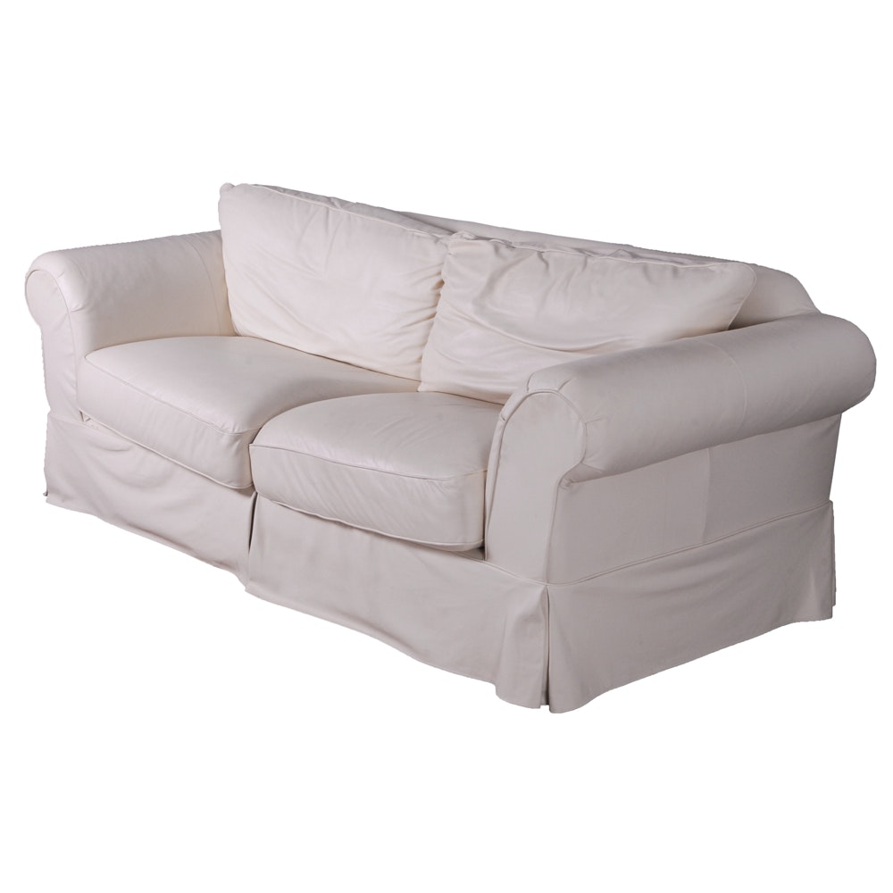 White Italian Leather Sofa by Due Linee Salotti