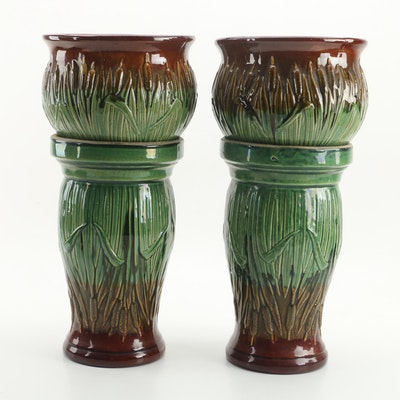 Pair of McCoy Pottery Jardinieres on Stands