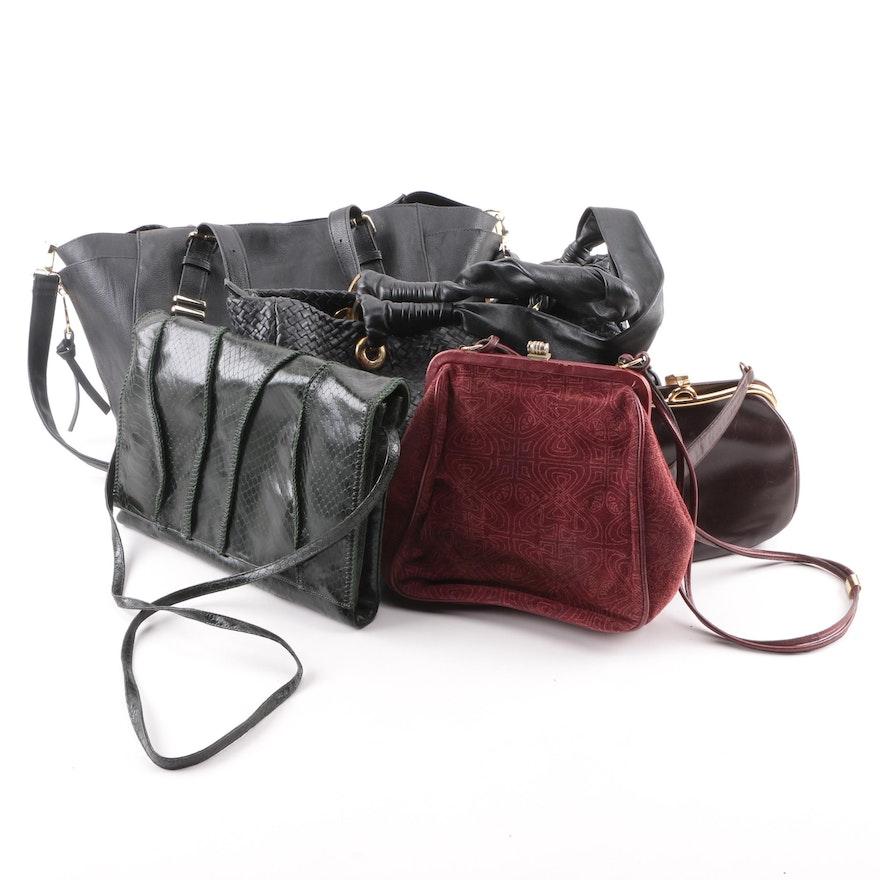Sharif Snakeskin Embossed Leather Handbag With Other Handbags