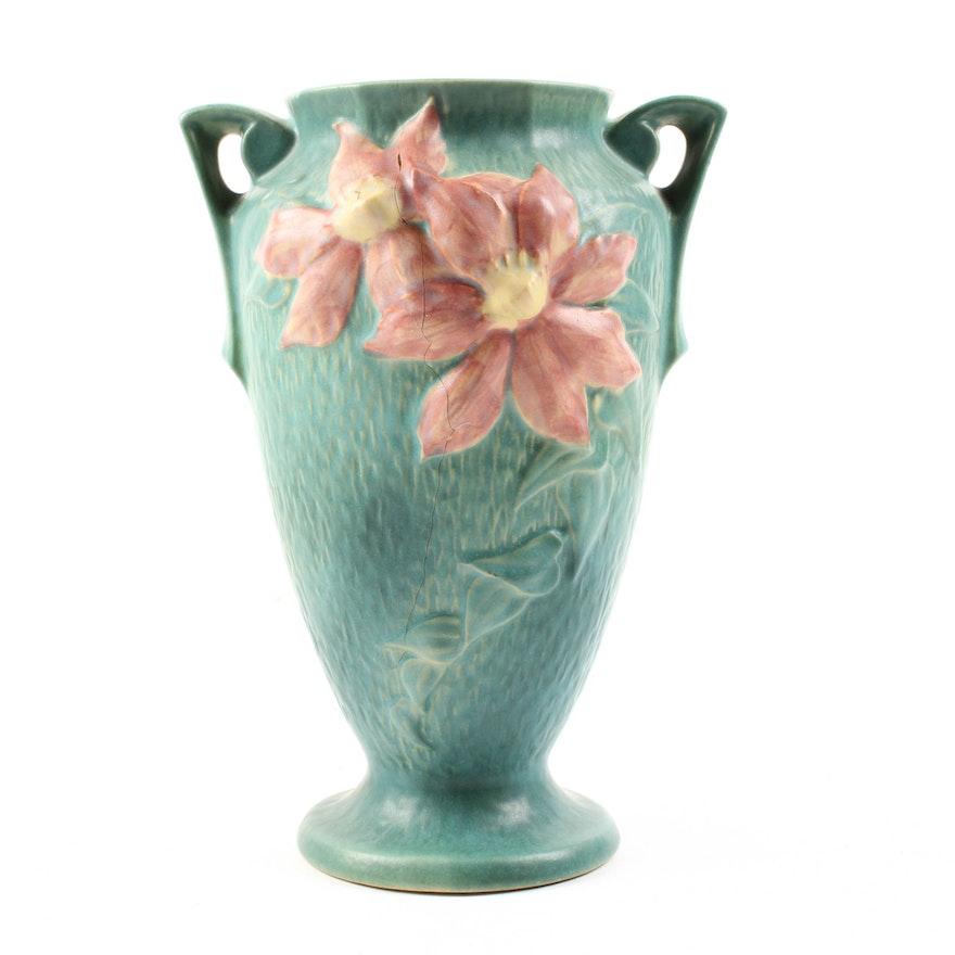 Vintage Roseville Clematis Art Pottery Vase Ebth