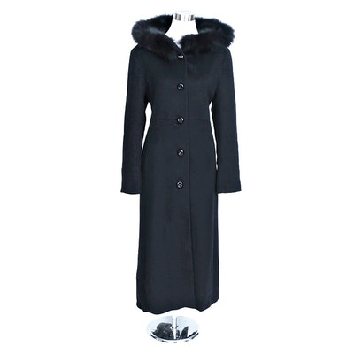 Dale Dressin Black Wool Full-Length Wool Coat With Fox Fur Trimmed Hood