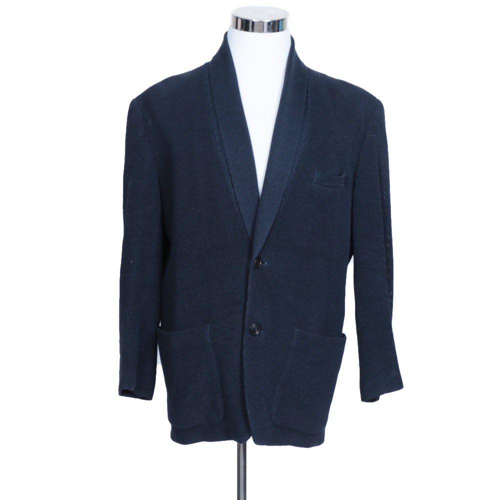 Issey Miyake Men's Navy Linen Blazer, Made in Japan