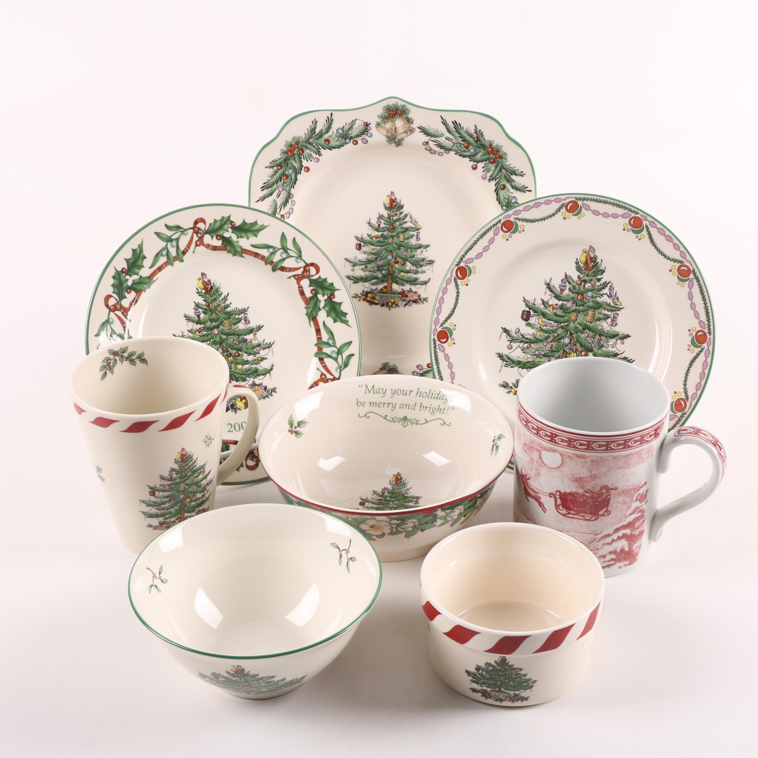"Spode ""Christmas Tree"" and ""St. Nick"" Ceramic Dinnerware"