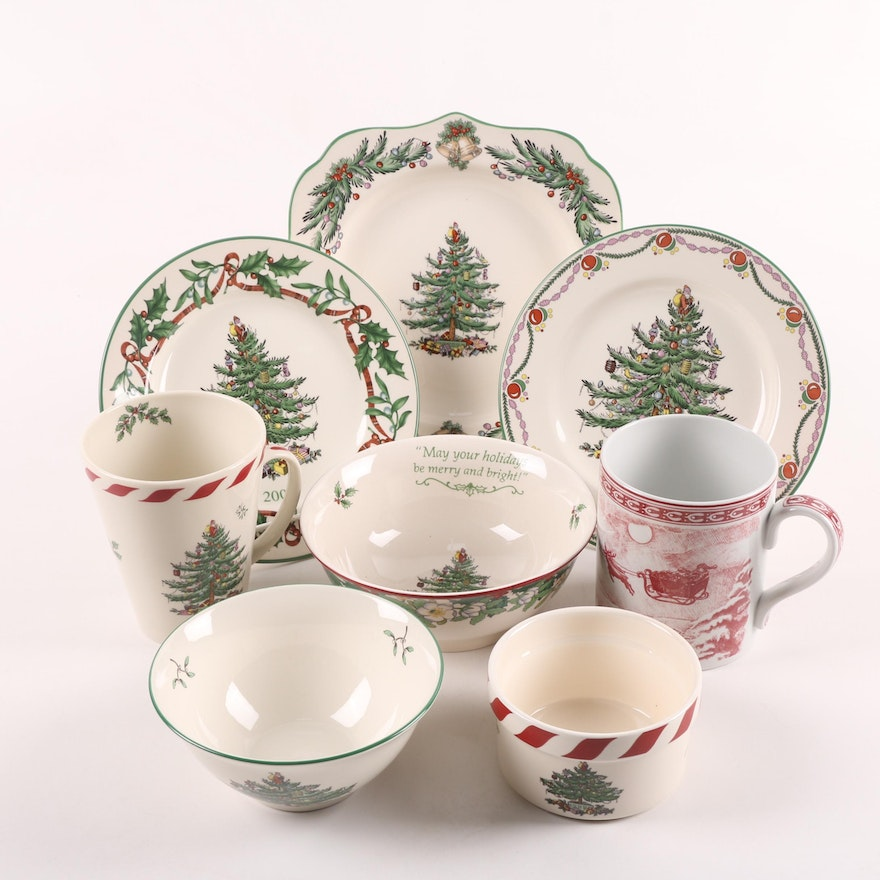 "Spode ""Christmas Tree"" and ""St. Nick"" Ceramic Dinnerware"