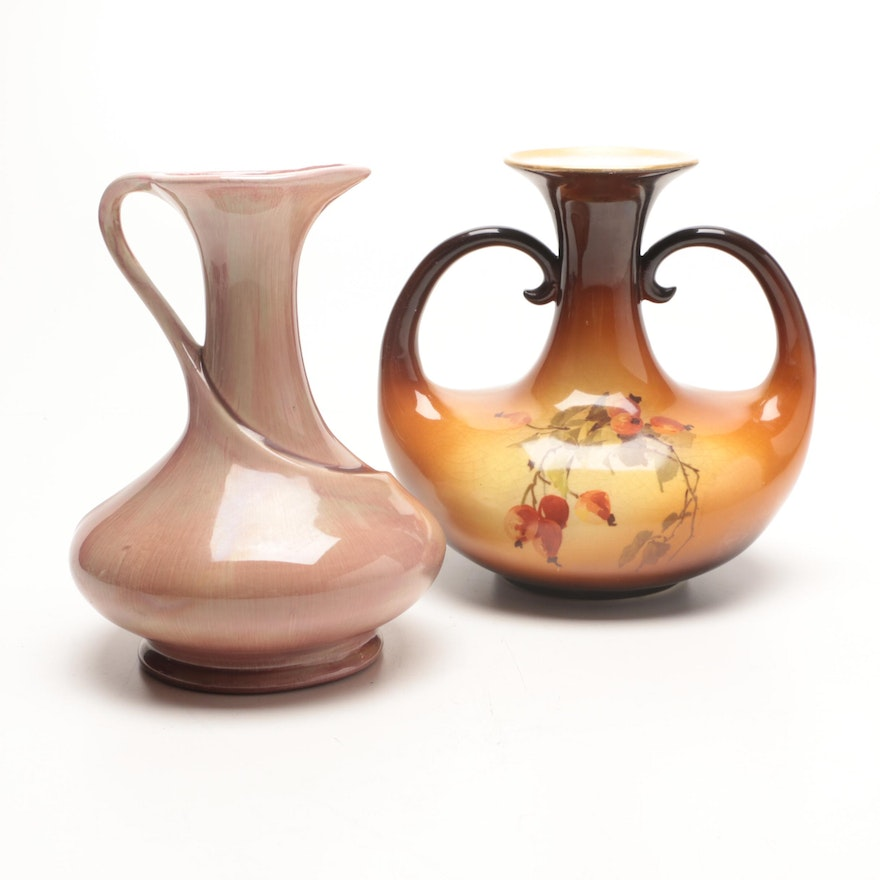 Warwick Ioga Two Handled Vase And Pottery Pitcher Ebth