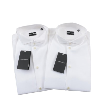 Men's Giorgio Armani Tuxedo Shirts with Bow Tie and Suspenders