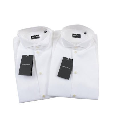 Men's Giorgio Armani Tuxedo Shirts with Bow Tie and Suspenders