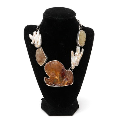 """Rebecca Collins """"Bless Our Earth"""" Sterling Silver Carved Copal Necklace"""