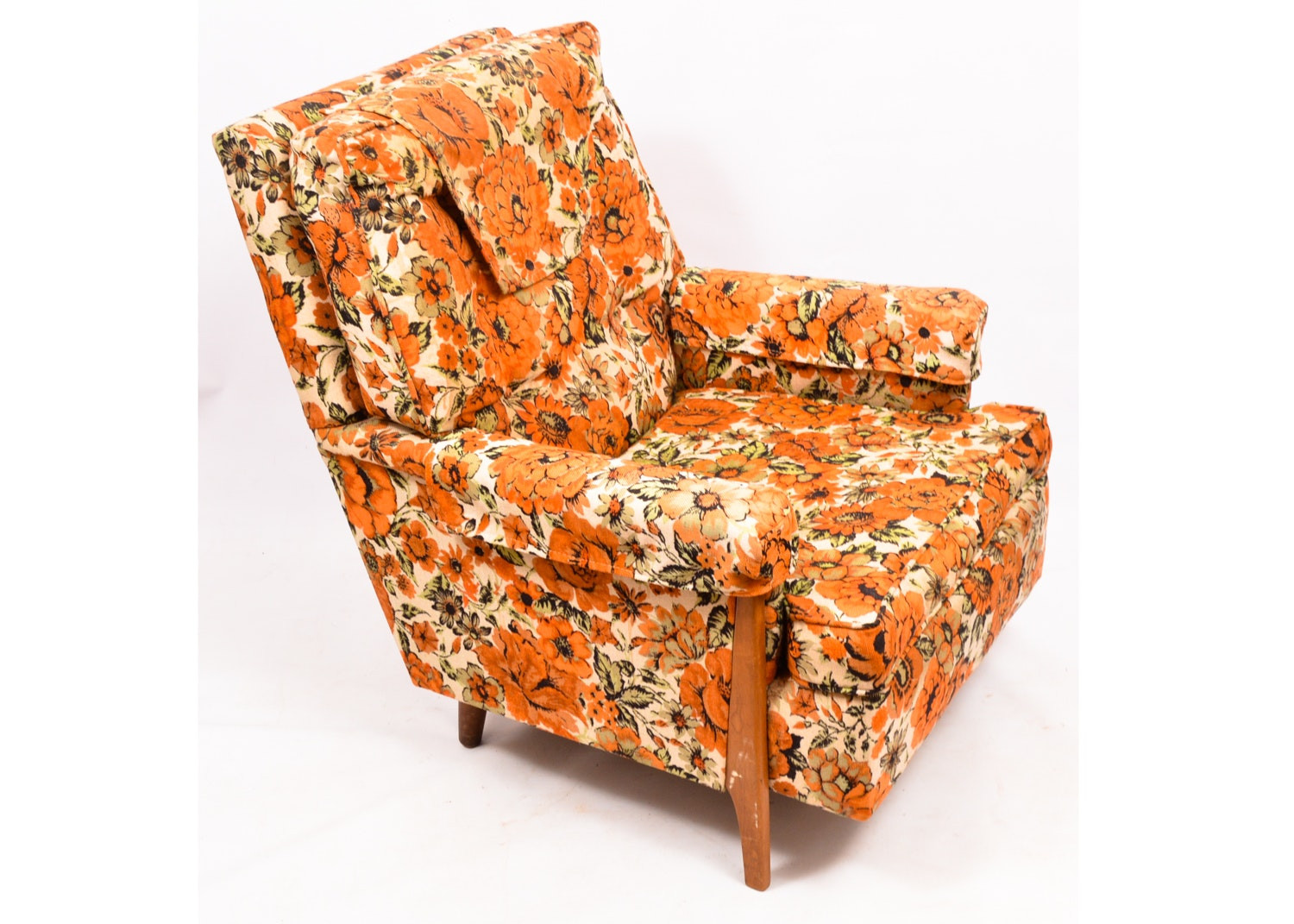 Vintage Mid Century Modern Floral Upholstered Armchair by Norwalk Furniture