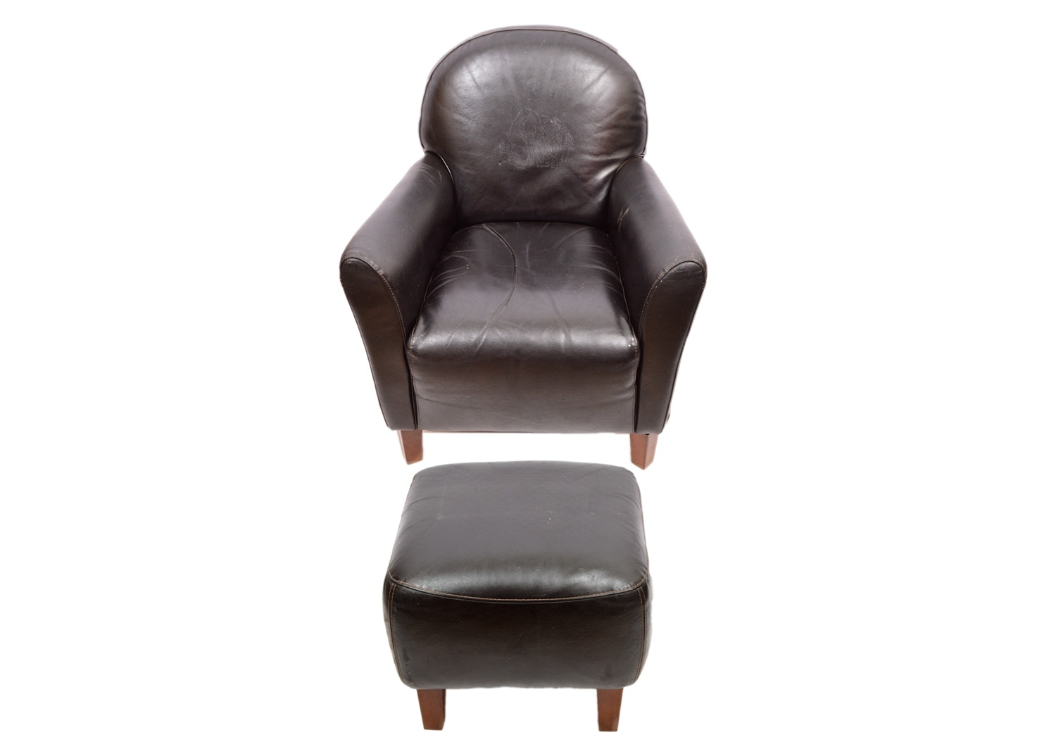 Faux Leather Armchair and Ottoman by Calia Salotti