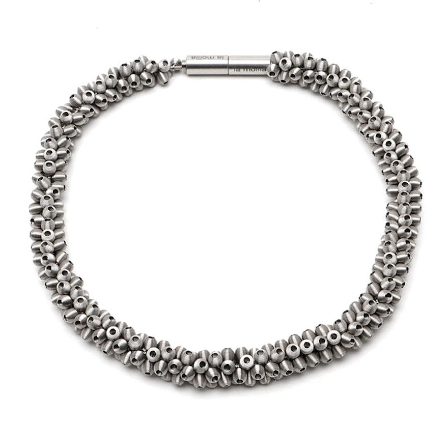 "Tiziana Redavid La Mollla Stainless Steel ""Sparkling"" Architect Necklace"
