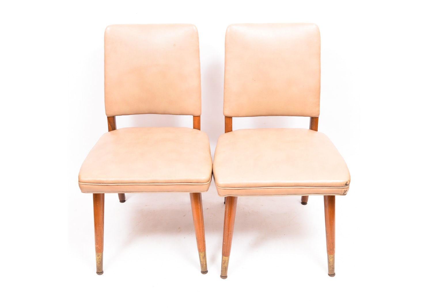 Mid Century Modern Vinyl Upholstered Chairs by B.L. Marble Chair Co.