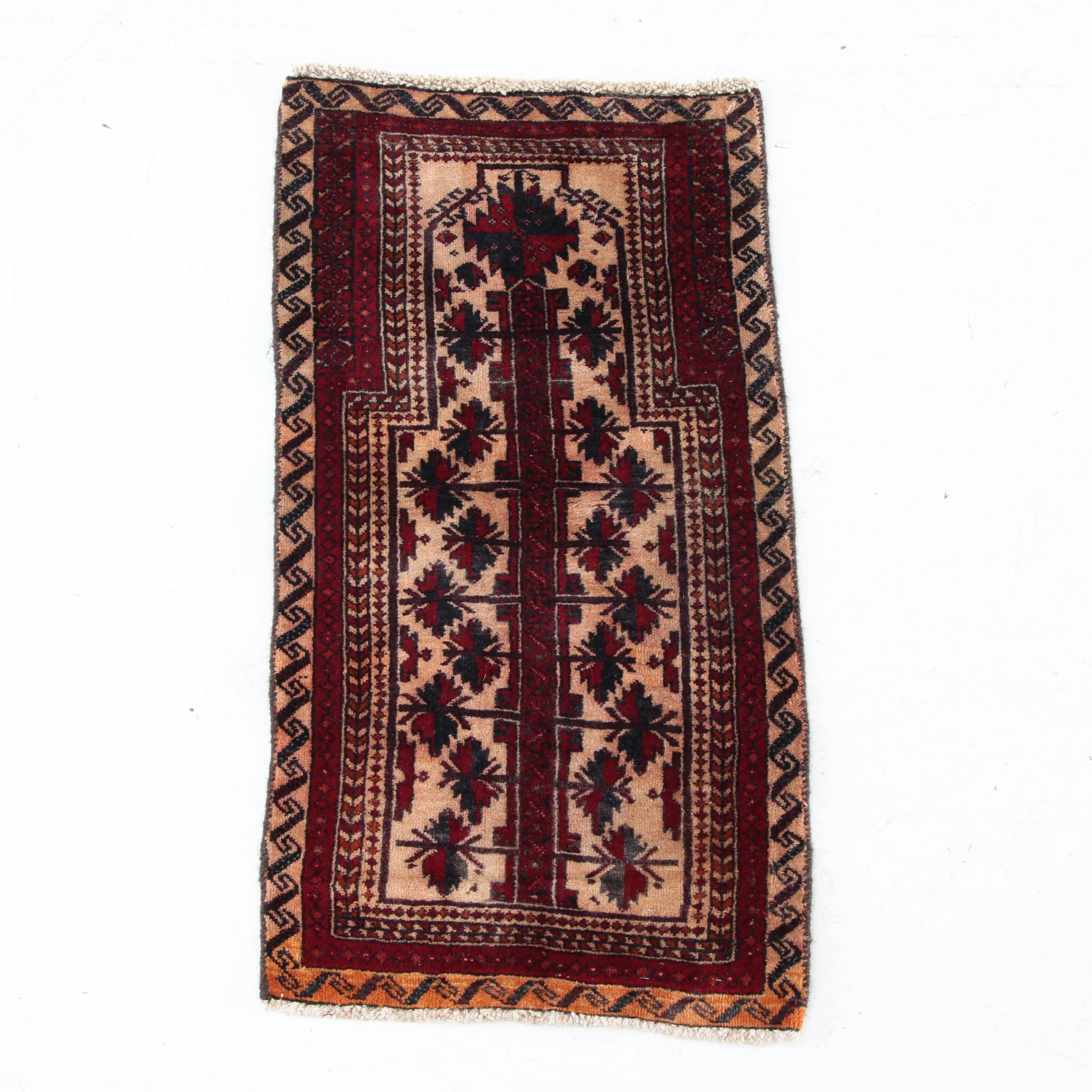 Vintage Hand-Knotted Baluch Wool Prayer Rug