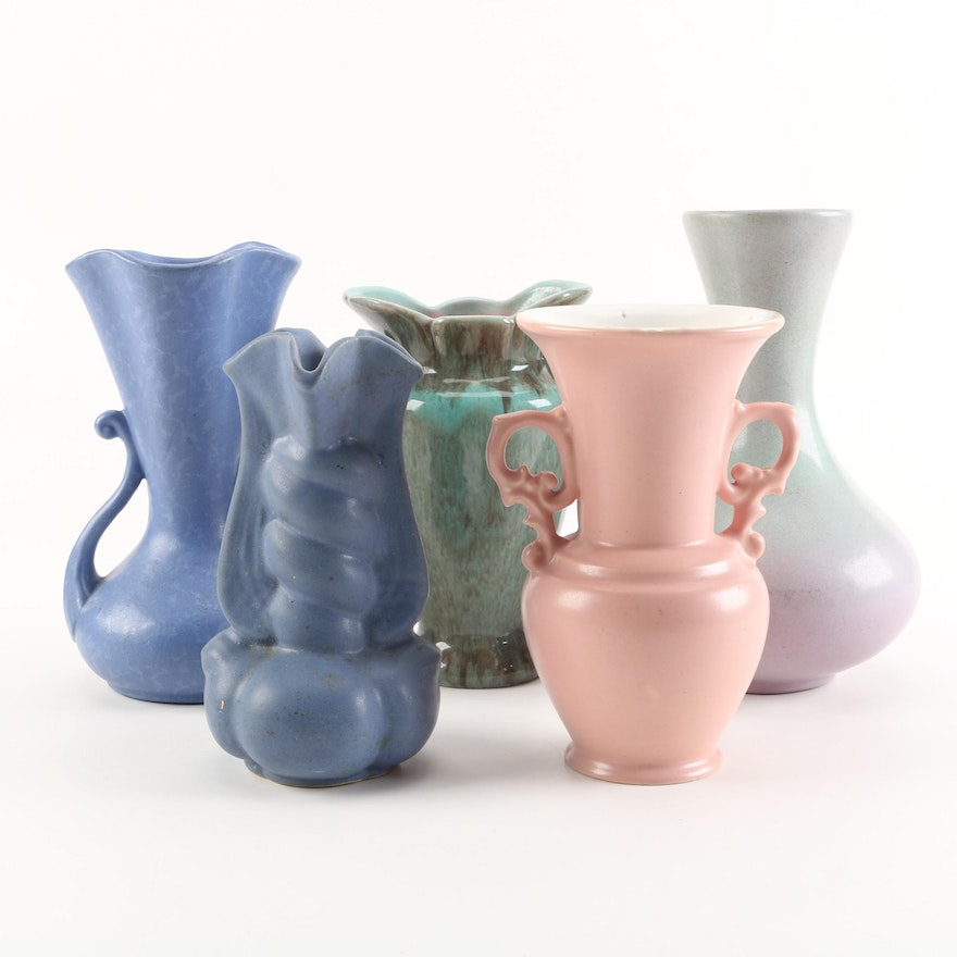 Vintage Art Pottery Vases Including Rumrill Gonder And Abingdon Ebth