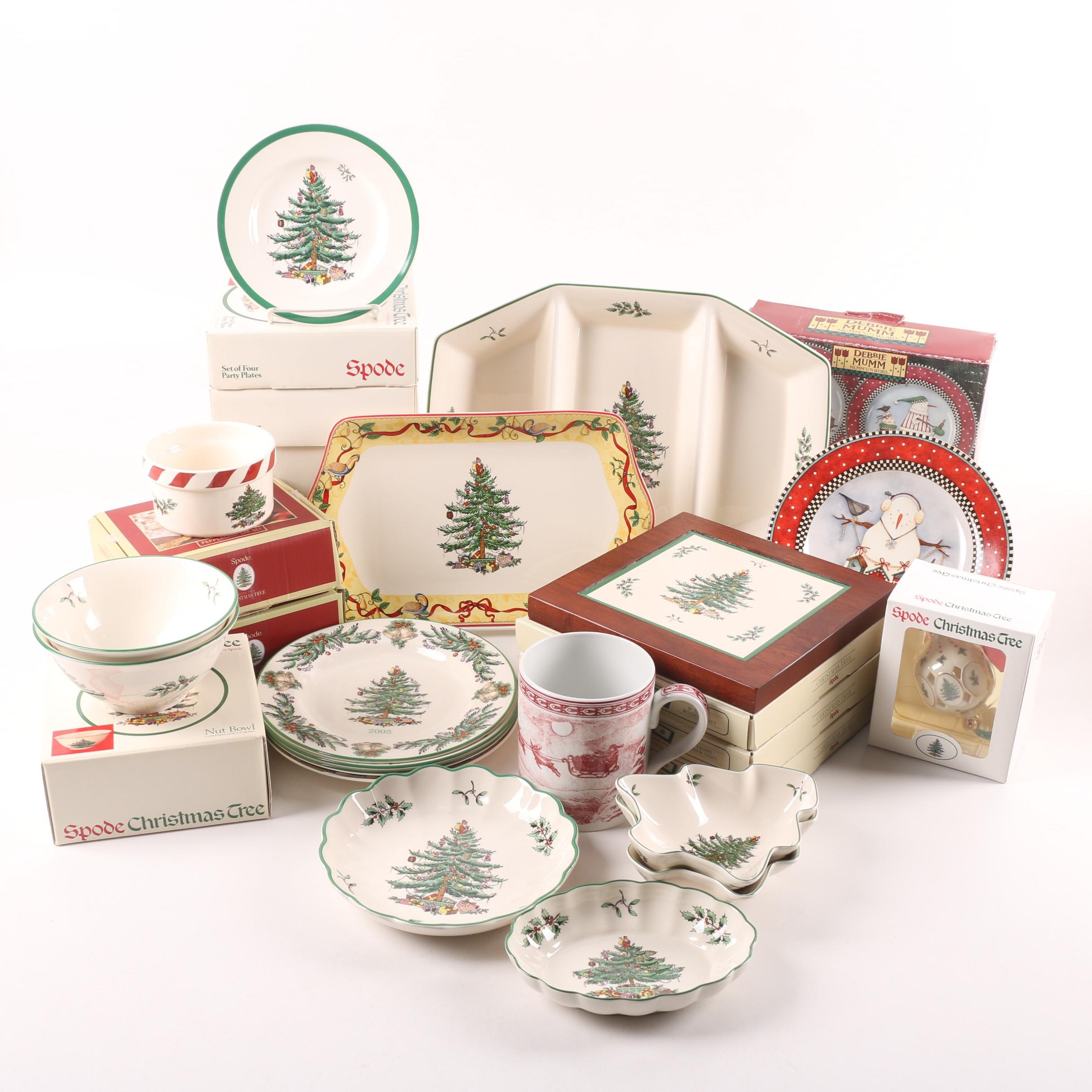"Spode and Sakura Holiday Tableware including ""Christmas Tree"""