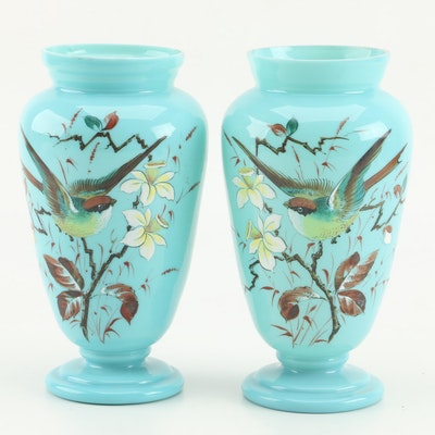 Pair of Bristol Glass Vases, Late 19th Century