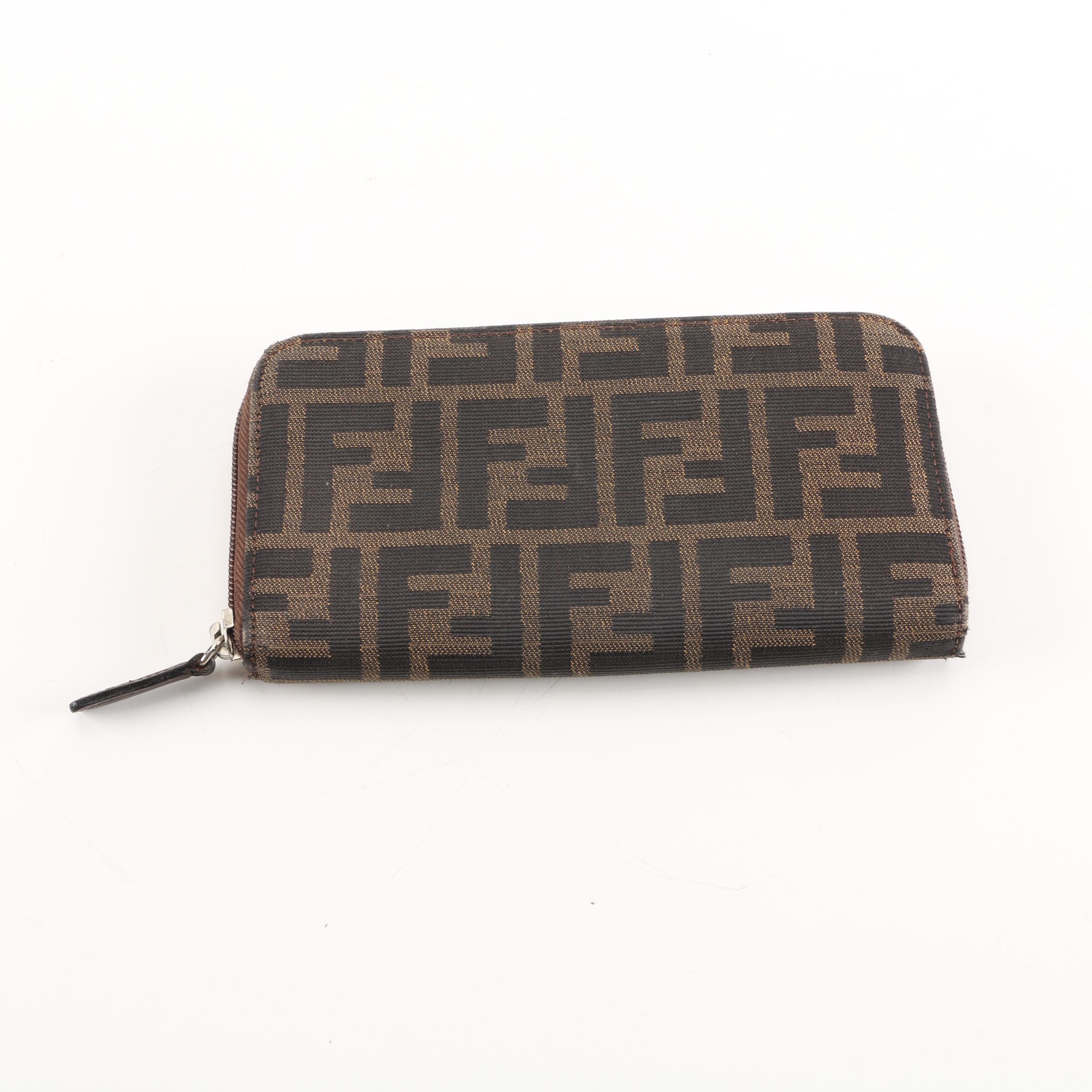 579e6f99d4c ... promo code for fendi brown zucca zip around canvas wallet 75ecc 36aae  authentic auth fendi zucca monogram signature purse original dust bag ...