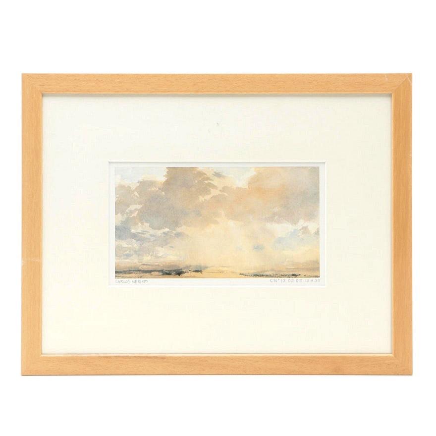 "Carlos Nariño Watercolor on Paper ""CN° 13 02 12H 30"""