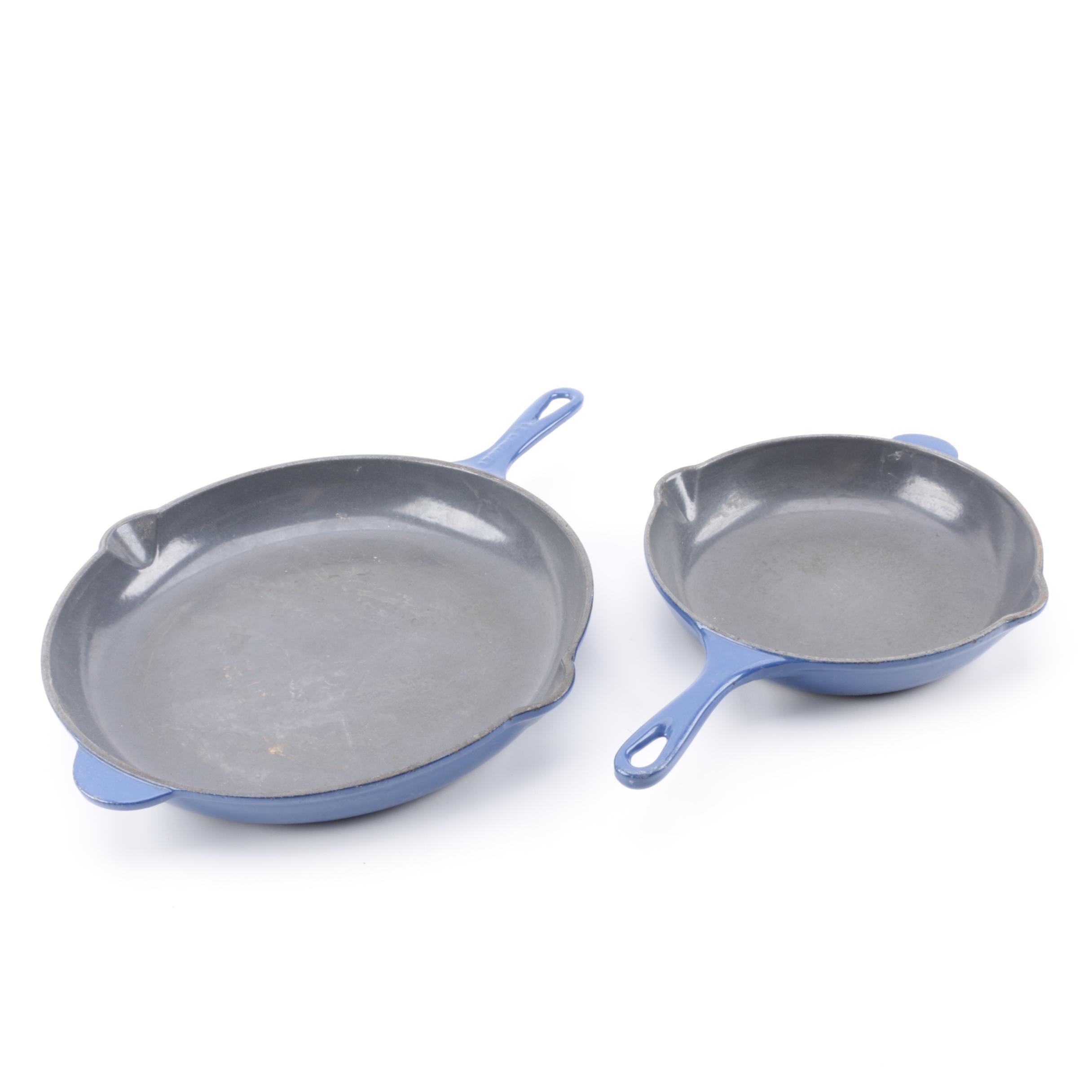 Le Creuset Blue Enamel Cast Iron Skillets