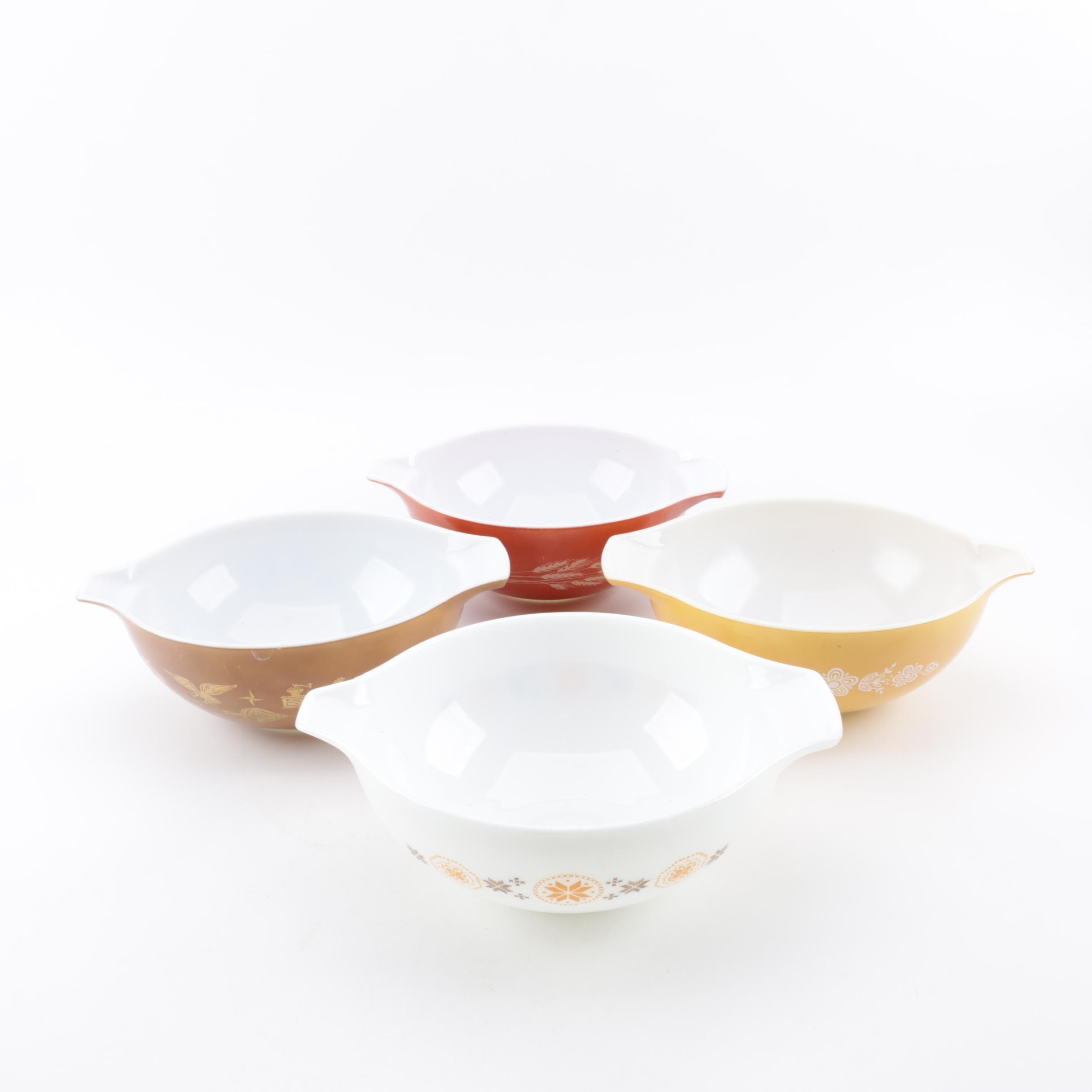 """Vintage Pyrex Cinderella Bowls featuring """"Early American"""" and """"Butterfly Gold"""""""