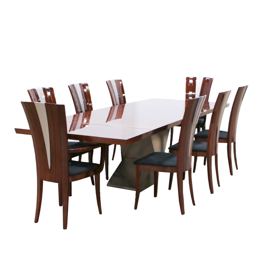 Excelsior Designs Rosewood And Steel Dining Table With Eight Beech Chairs Ebth