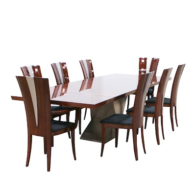 Excelsior Designs Rosewood and Steel Dining Table with Eight Beech Chairs