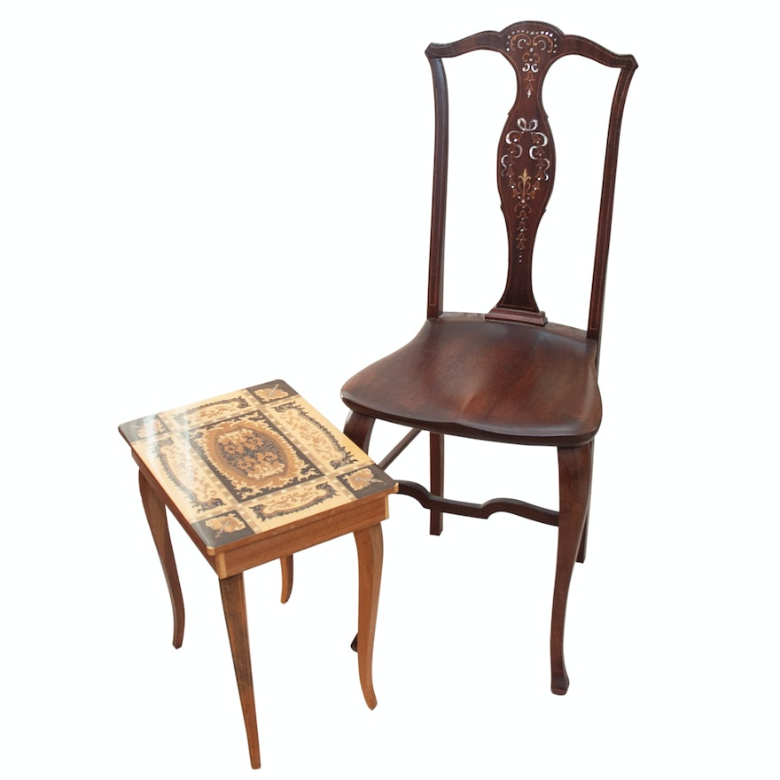 Robert Mitchell Antique Chair and Wood Marquetry Music Table ... - Robert Mitchell Antique Chair And Wood Marquetry Music Table : EBTH