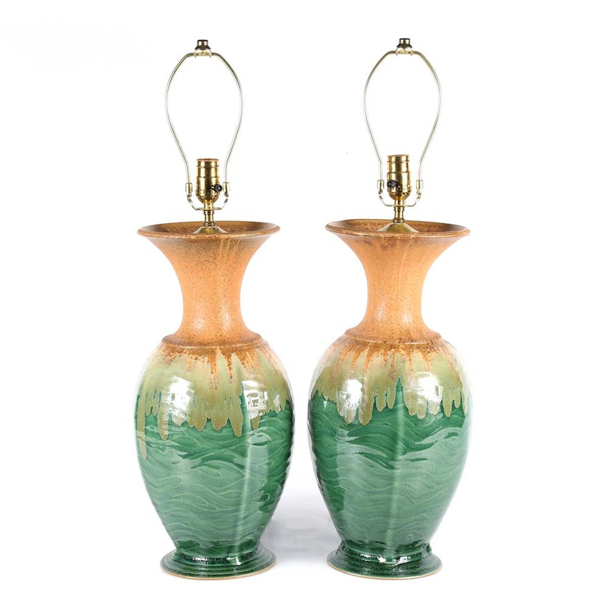 Allan Ditton Hand Thrown Art Pottery Table Lamps