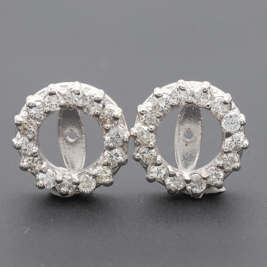 14k White Gold Diamond And Cubic Zirconia Earring Jackets