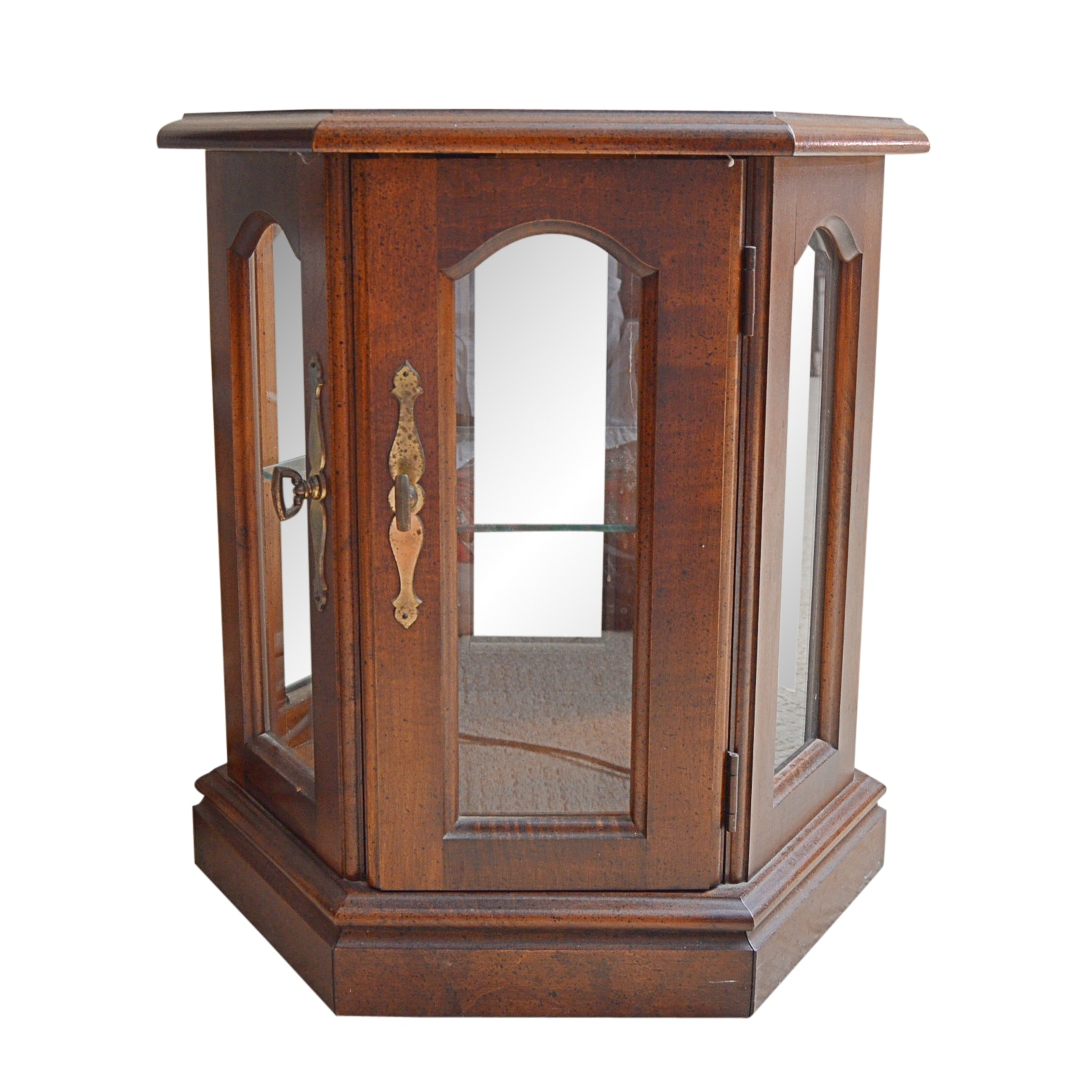 French Provincial Style Wood And Glass Display Cabinet ...