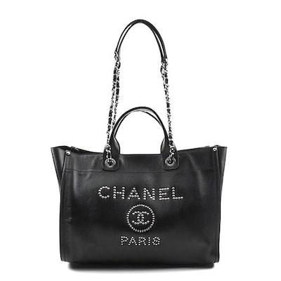 Chanel Studded Black Calfskin Deauville Medium Shopping Tote, Spring 2018