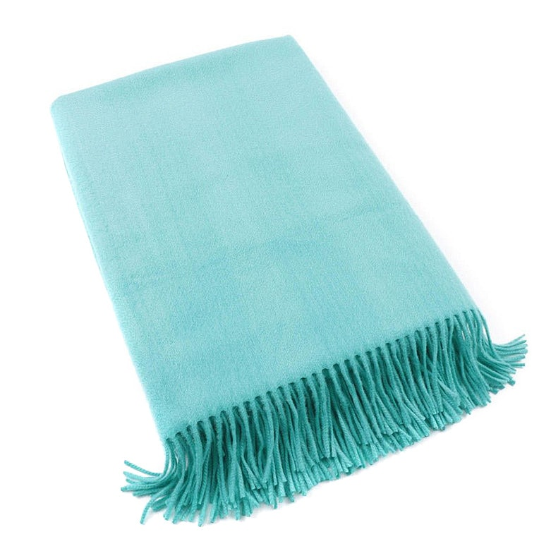 Ralph Lauren Black Label Turquoise Cashmere Fringed Throw