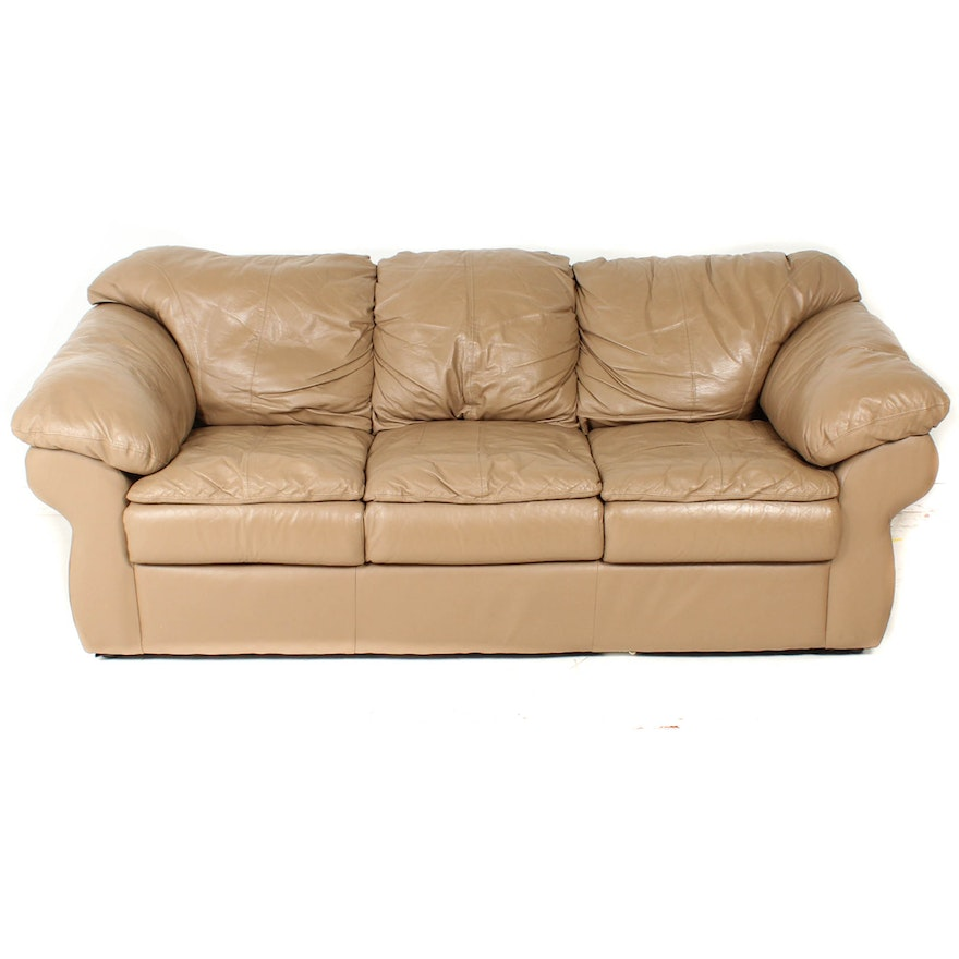 Sealy Contemporary Buff Leather Sofa