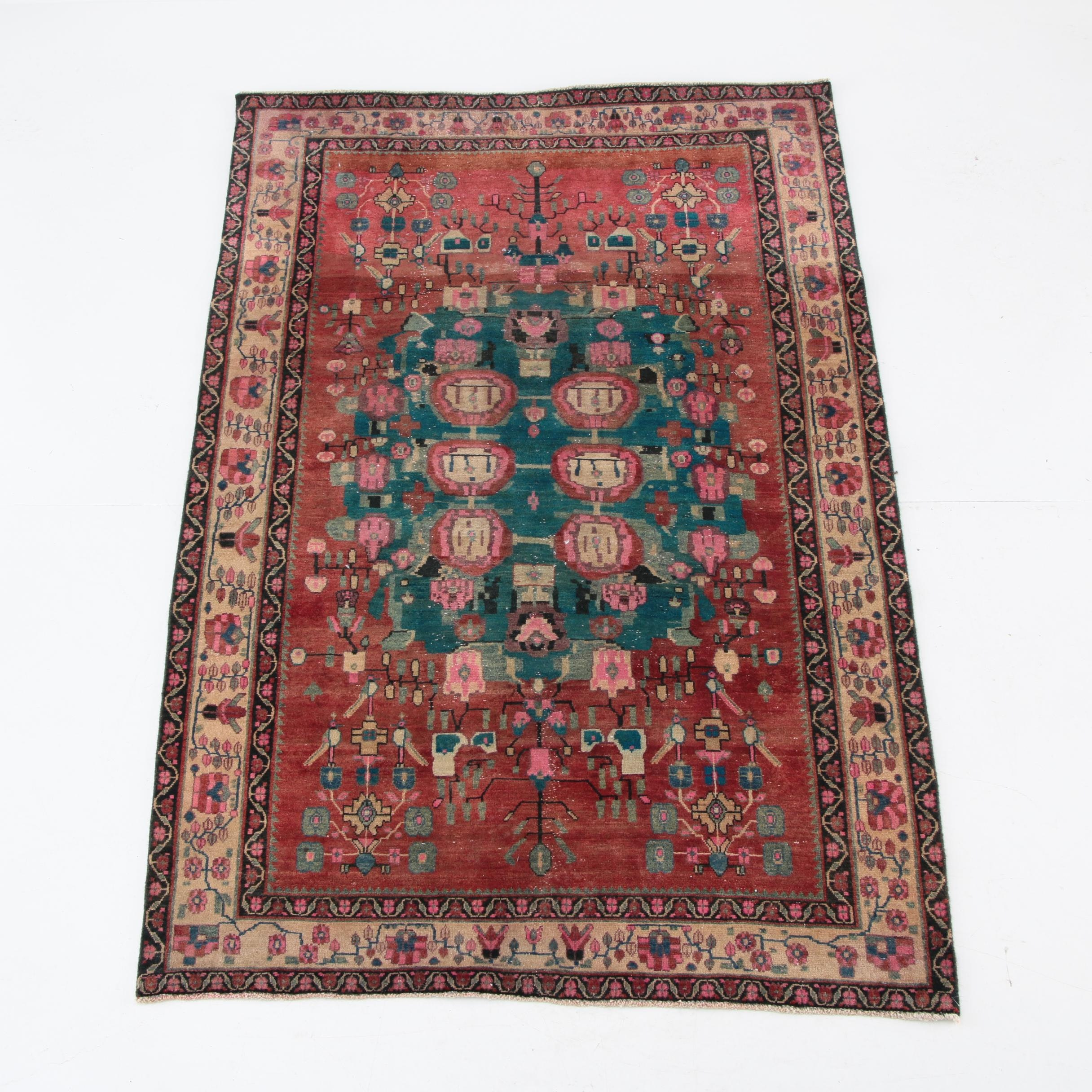 Vintage Hand-Knotted Persian Hamadan Area Rug
