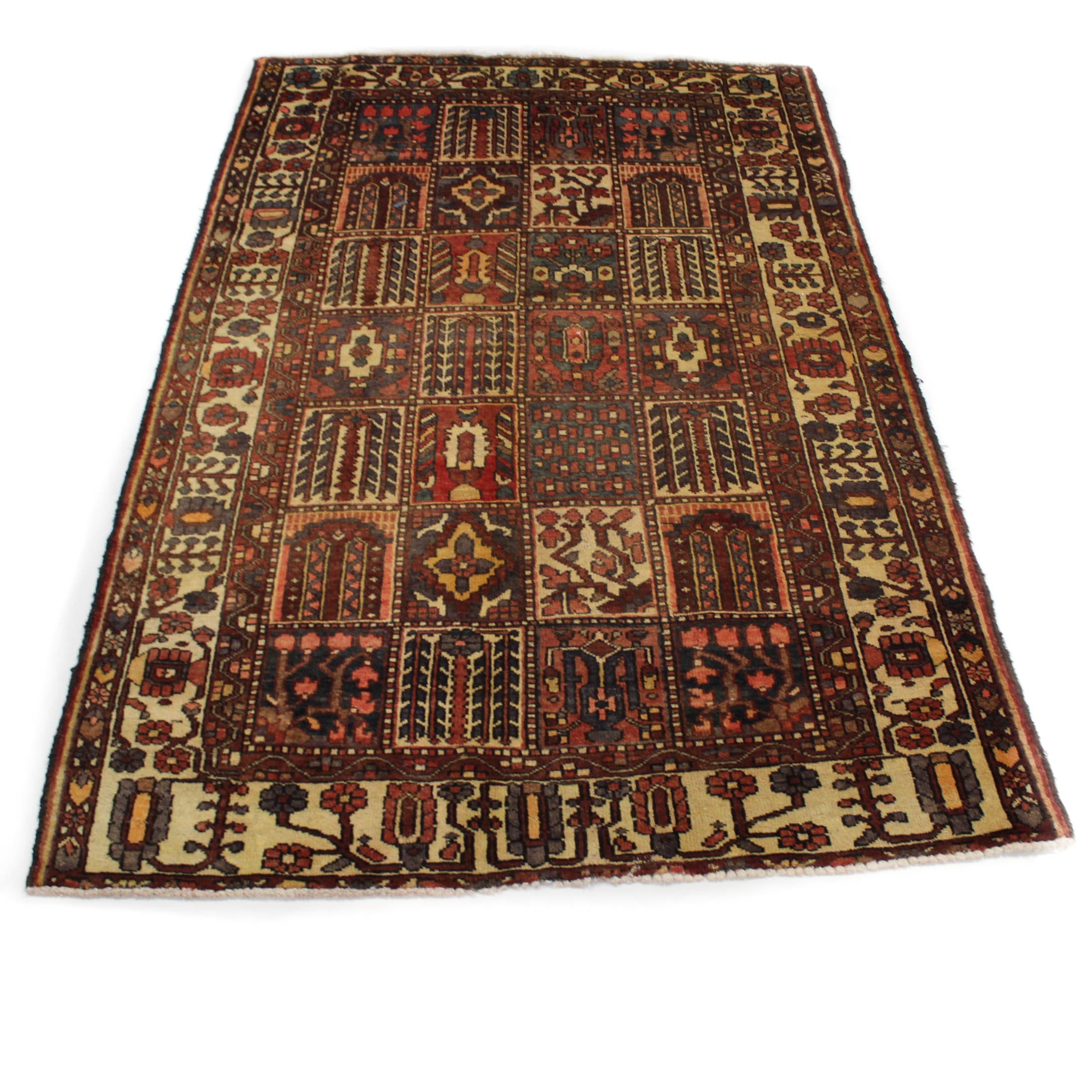 Semi-Antique Hand-Knotted Persian Bakhtiari Rug