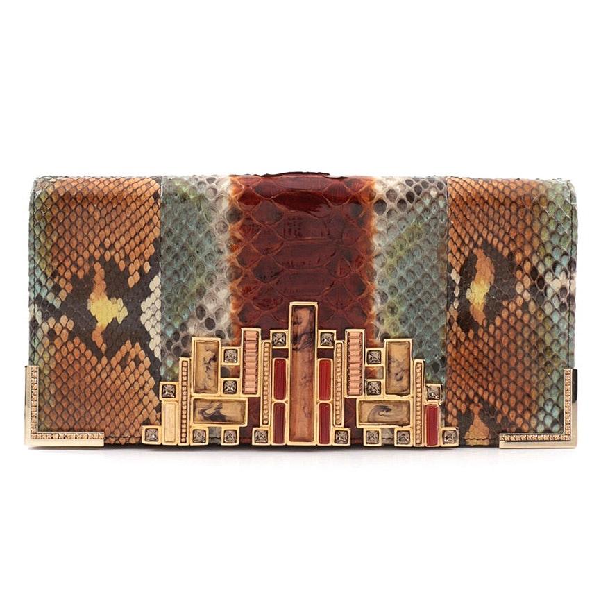 Judith Leiber New York Embellished Ombré Python Skin Clutch Purse