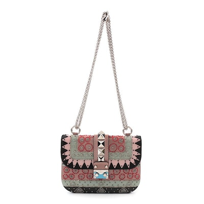 Valentino Garavani Glam Lock Embellished Leather Shoulder Bag