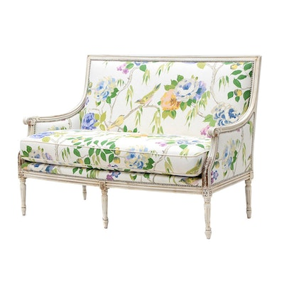 Floral Upholstered Settee by Massound Furniture