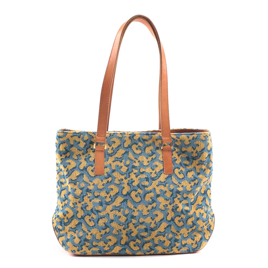 bf700b3ffa8 Stubbs   Wootton Palm Beach Blue and Yellow Needlepoint and Leather  Shoulder Bag