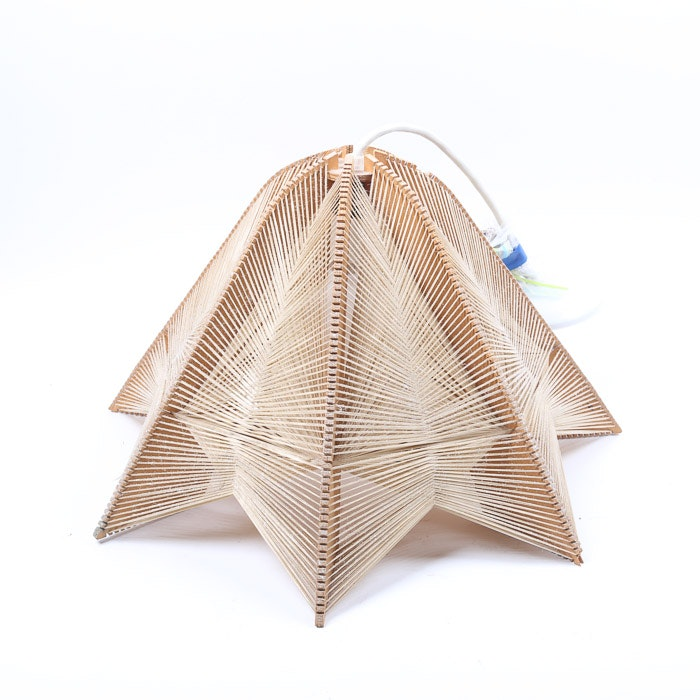 Mid Century Modern Wood and String Pendant Light