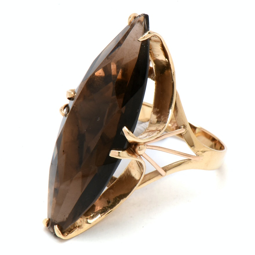 14K Yellow Gold 11.55 CT Smoky Quartz Statement Ring