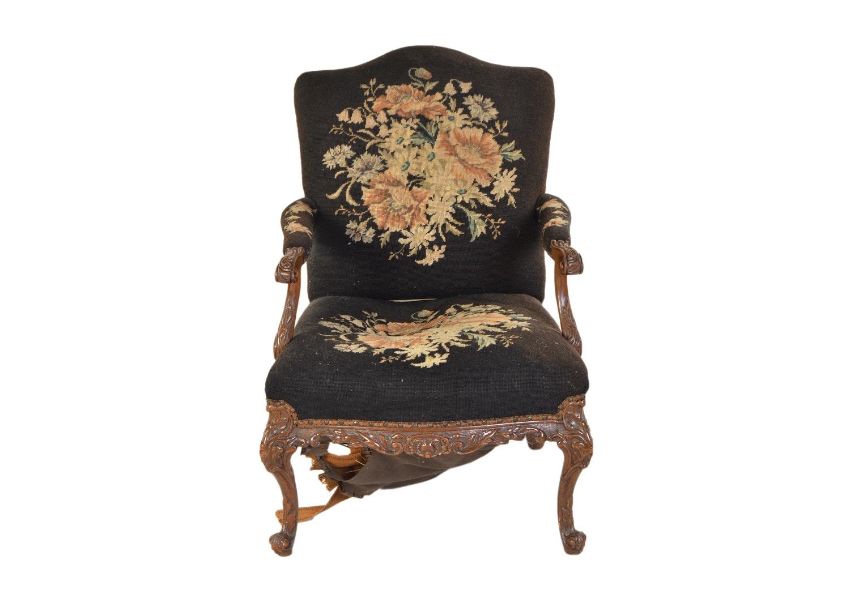 Vintage Louis XV Style Needlepoint Armchair
