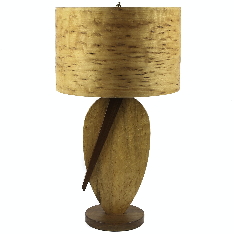 George Biersdorf Bird's Eye Maple and Walnut Table Lamp