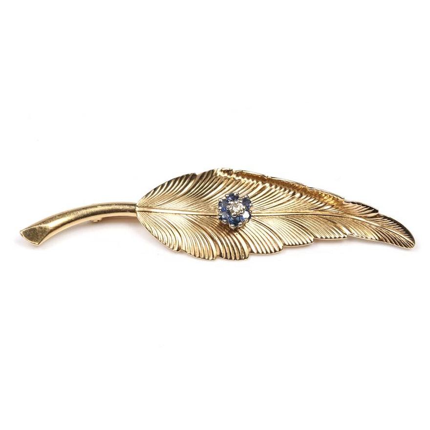 190bd7acb9b2f Estate 14K Yellow Gold Tiffany & Co. Diamond and Sapphire Leaf Pin