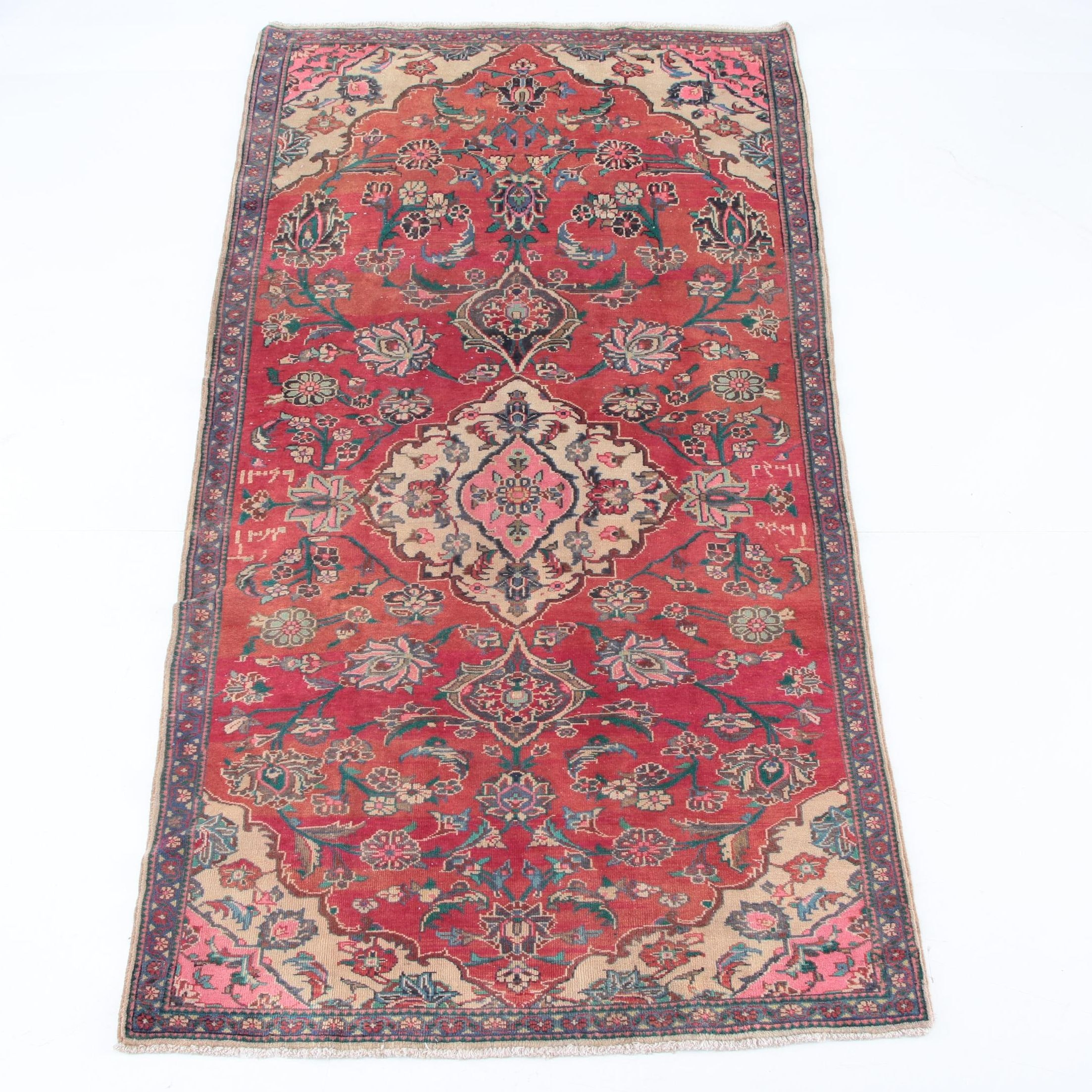 Vintage Hand-Knotted Persian Malayer Long Rug