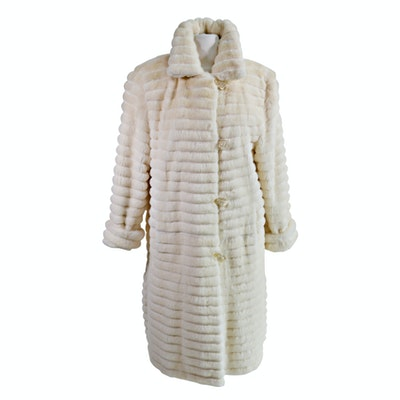 Bisang Couture Off-White Mink Fur Coat