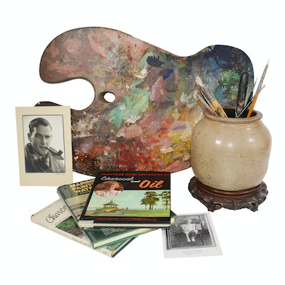 Edmond J. Fitzgerald Art Books, Art Palette and Paint Brushes