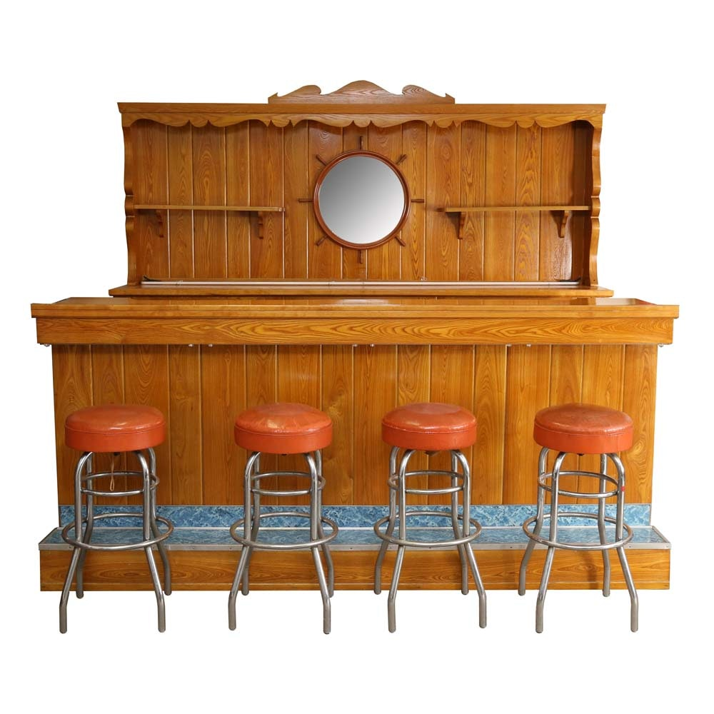 Vintage Colonial Revival Home Bar and Stools
