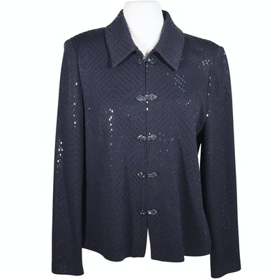 Women s Vintage Burberrys Navy Silk Blend Pantsuit   EBTH 4100155e7